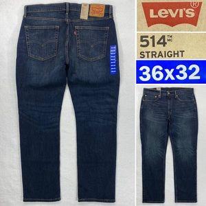 NWT Levi's 514 Straight Stretch Mens 36 x 32 Dark Wash Regular Fit Denim Jeans